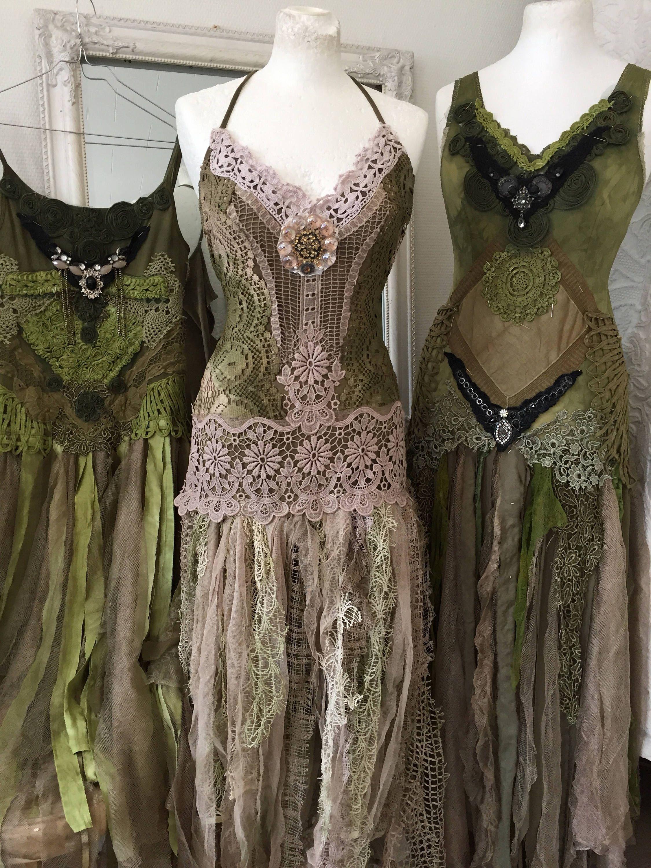Boho wedding dress green and rosebridal gown forest lookbeach
