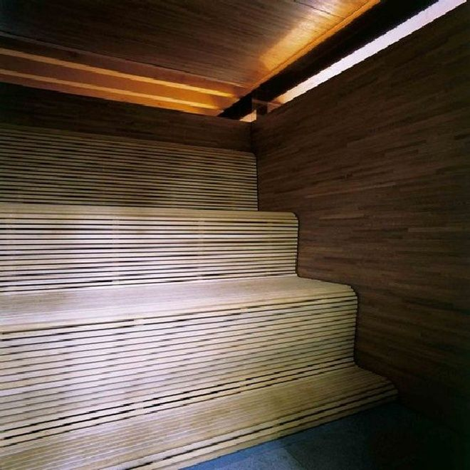 Sauna modern design  Love the slated the flow of the timber slatted benching! | Ted ...