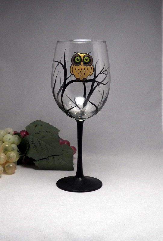 Golden Owl Wine Glass Hand Painted Dishwasher Safe Owl Wine Glass 2 Sizes Wine Glass Designs Painted Wine Glass Painting Glassware