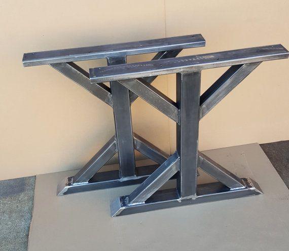 Trestle table legs heavy duty sturdy metal legs for Steel dining table legs