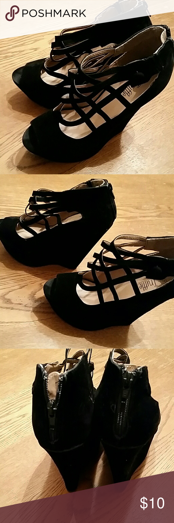 "Worn once caged  peep toe  shoe Excellent condition.  Zip back 2"" platform 6"" heel black suede truffle  Shoes Platforms"