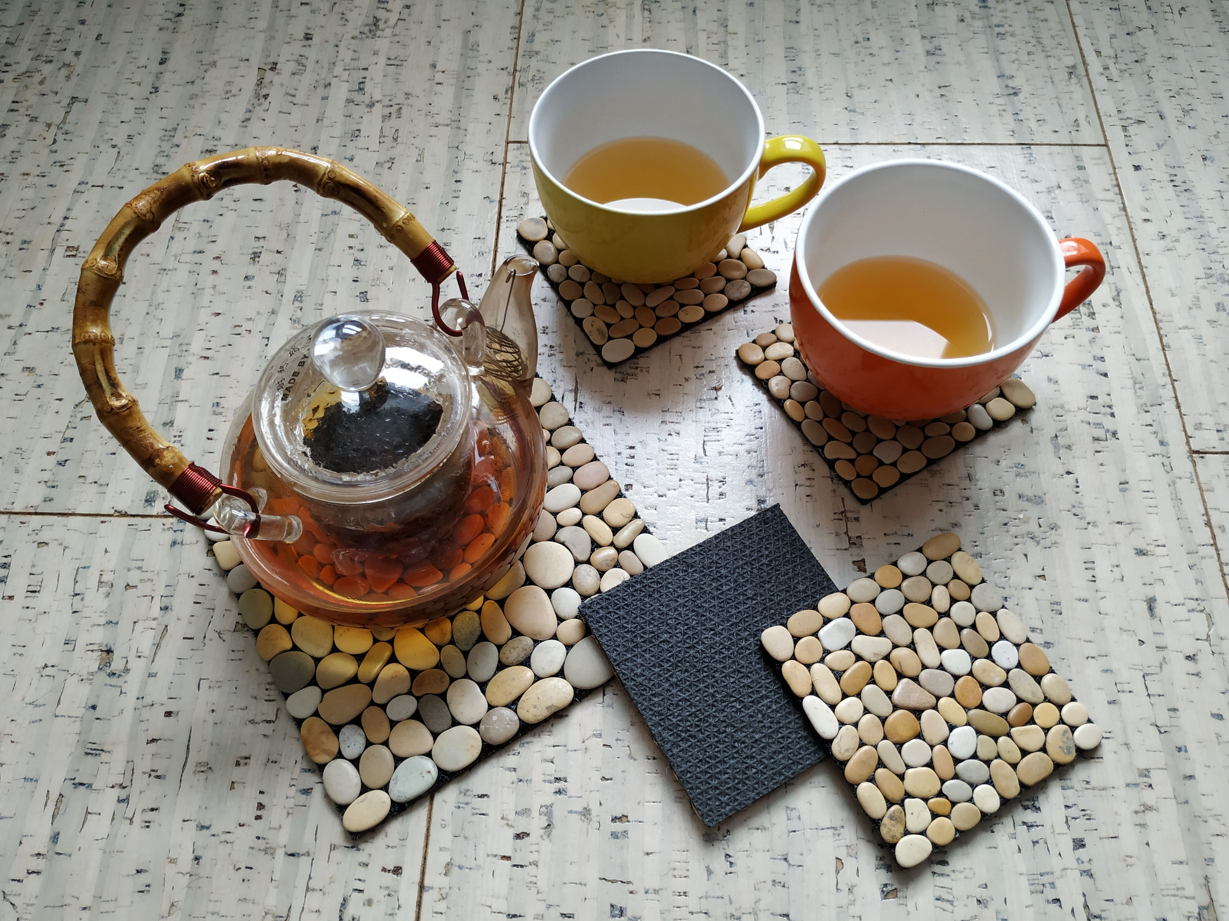 Table setting placemats, Coffee pot mat hot pads,