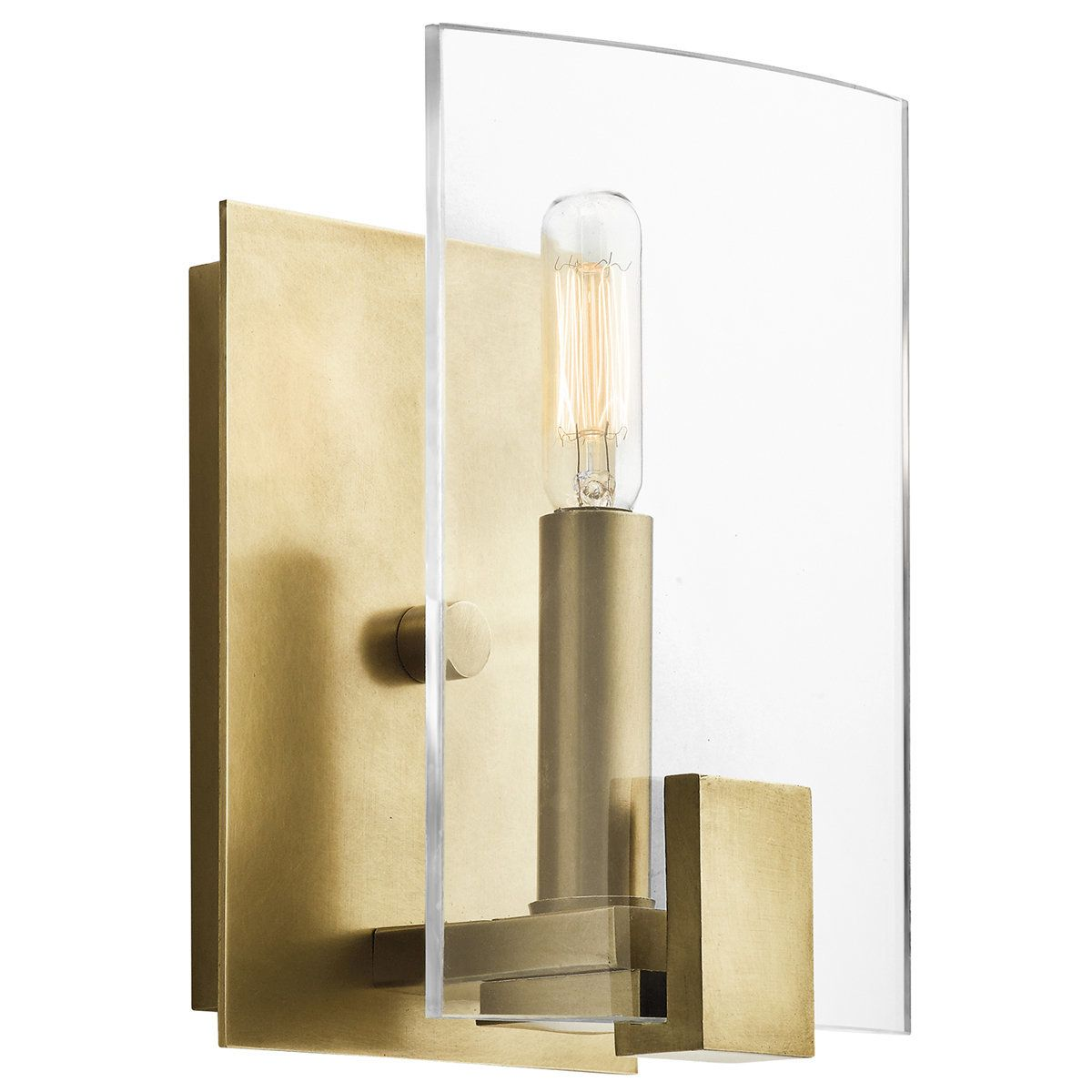 Kichler 45701 Signata 1 Light Wide Ada Compliant Wall Sconce With Clear Gl Natural Br Indoor Lighting Sconces