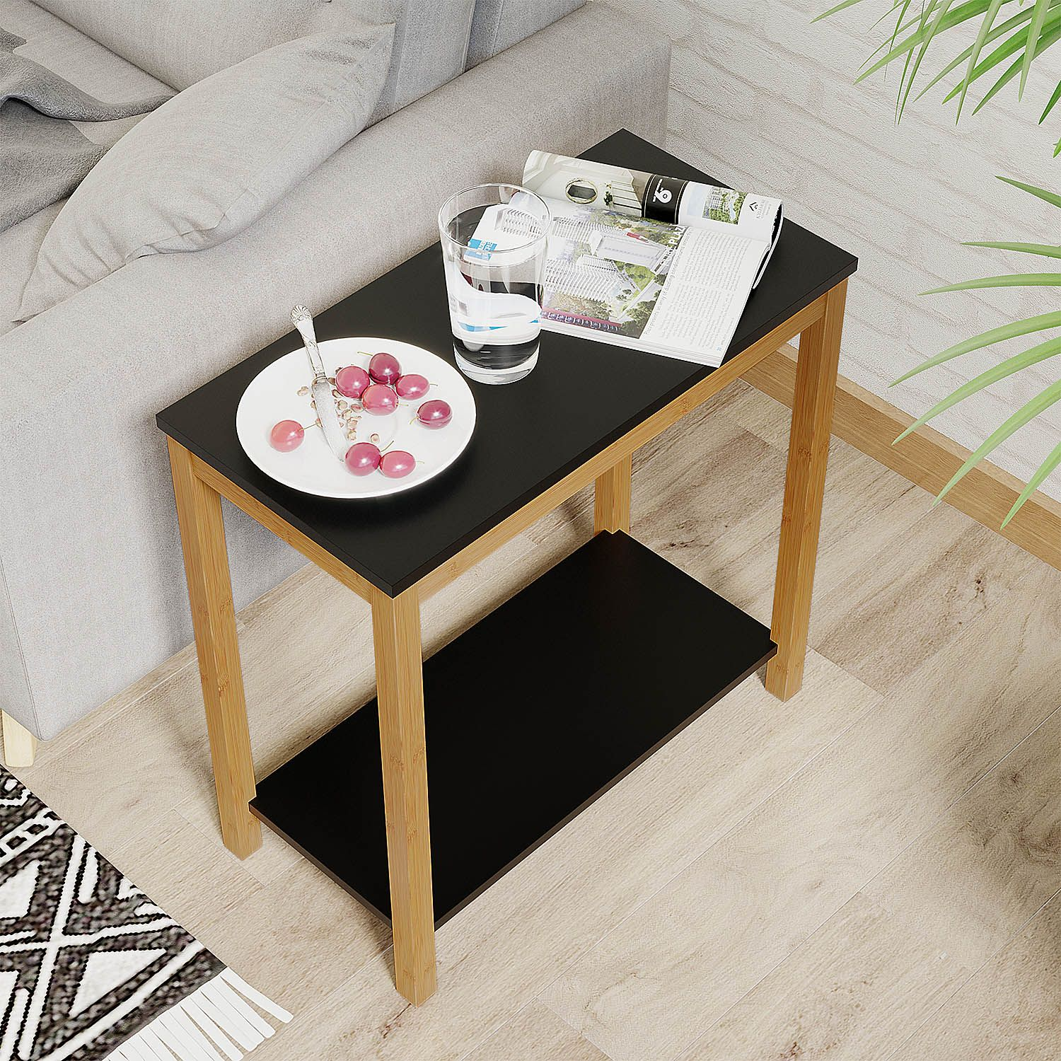 Modern Furniture For Living Room Bedroom Balcony Family And Office In Black Color Tea Room Decor Wood End Tables Living Room Decor Furniture End table vs side table