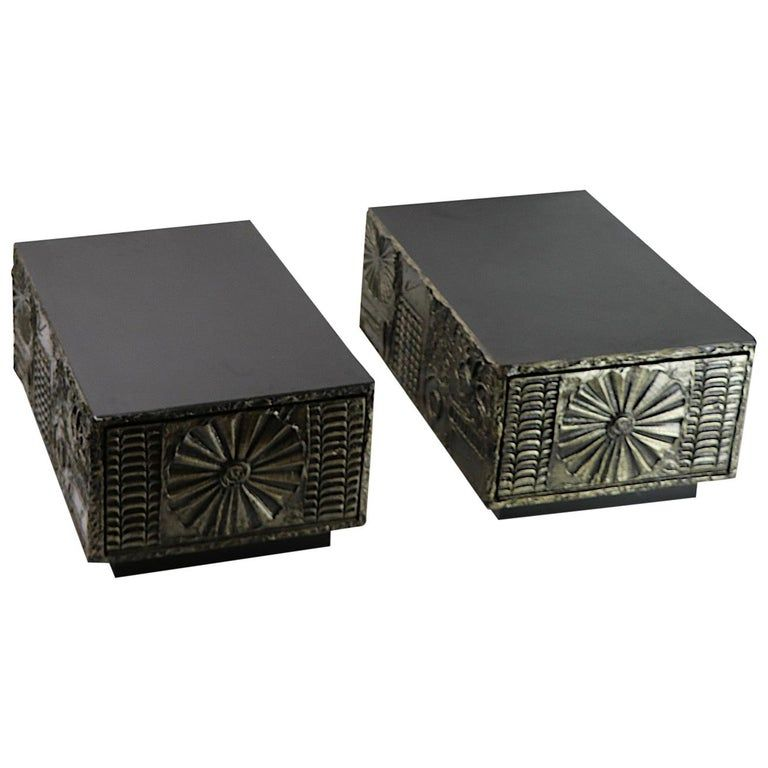 Pair Of Adrian Pearsall End Tables - Pearsall Lane American Brutalist Resin, Laminate, Wood