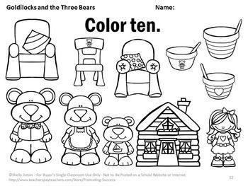 Kindergarten Coloring Worksheets Goldilocks Activities Images Bears
