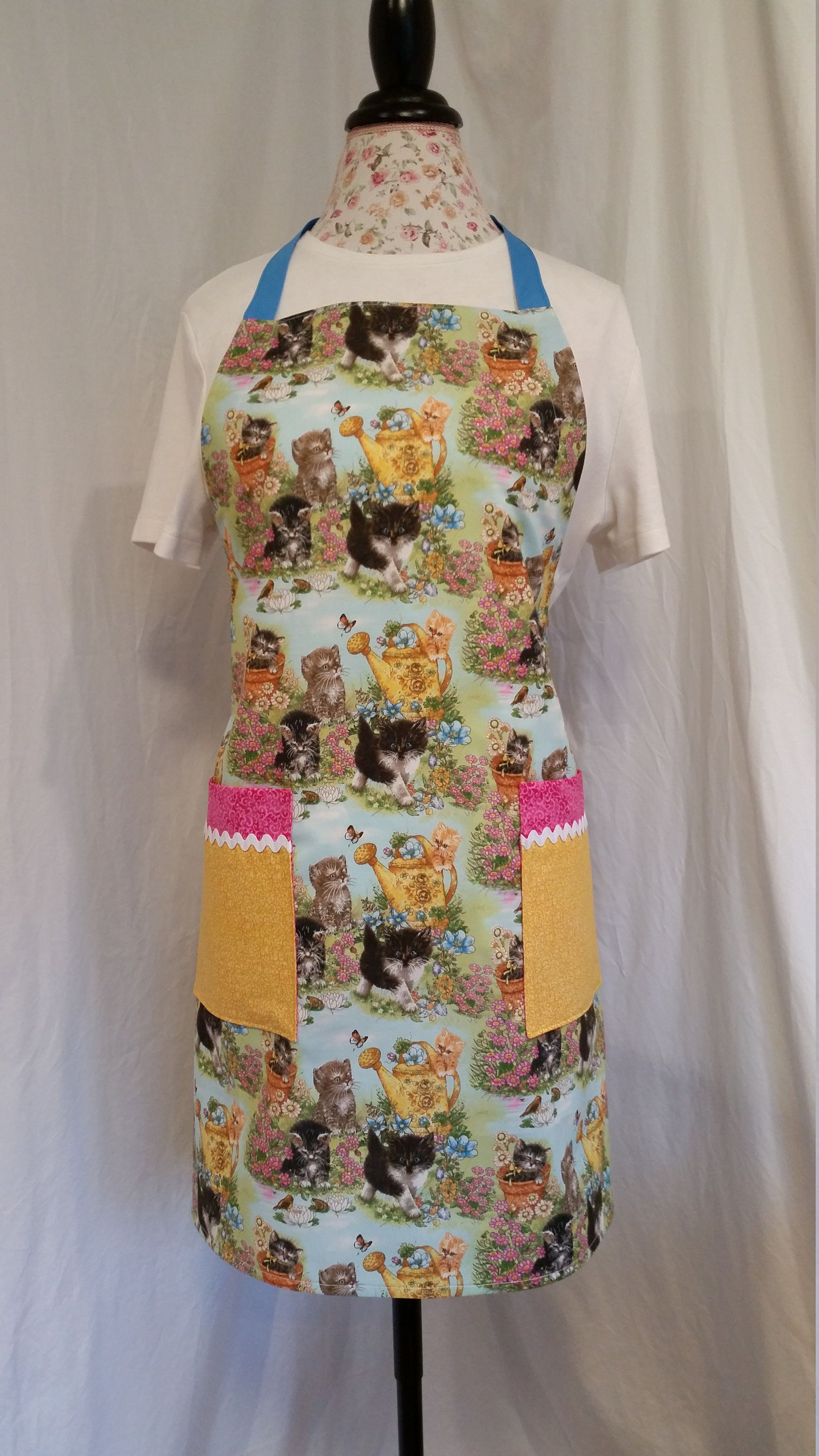 Cute Kittylovers print with blue ties adjustable apron