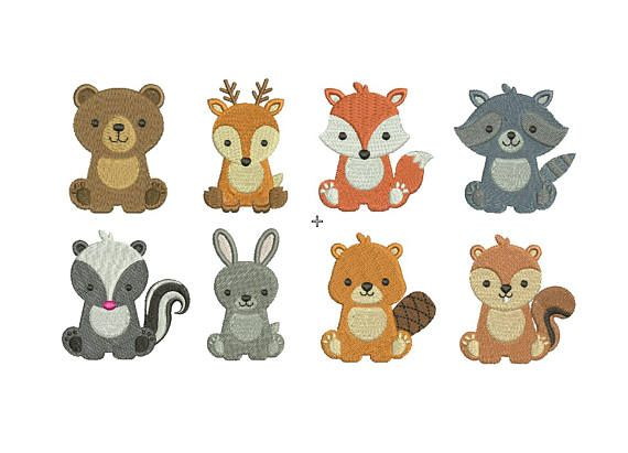 Animals Embroidery Design 7 Different Sizes for Instant Download