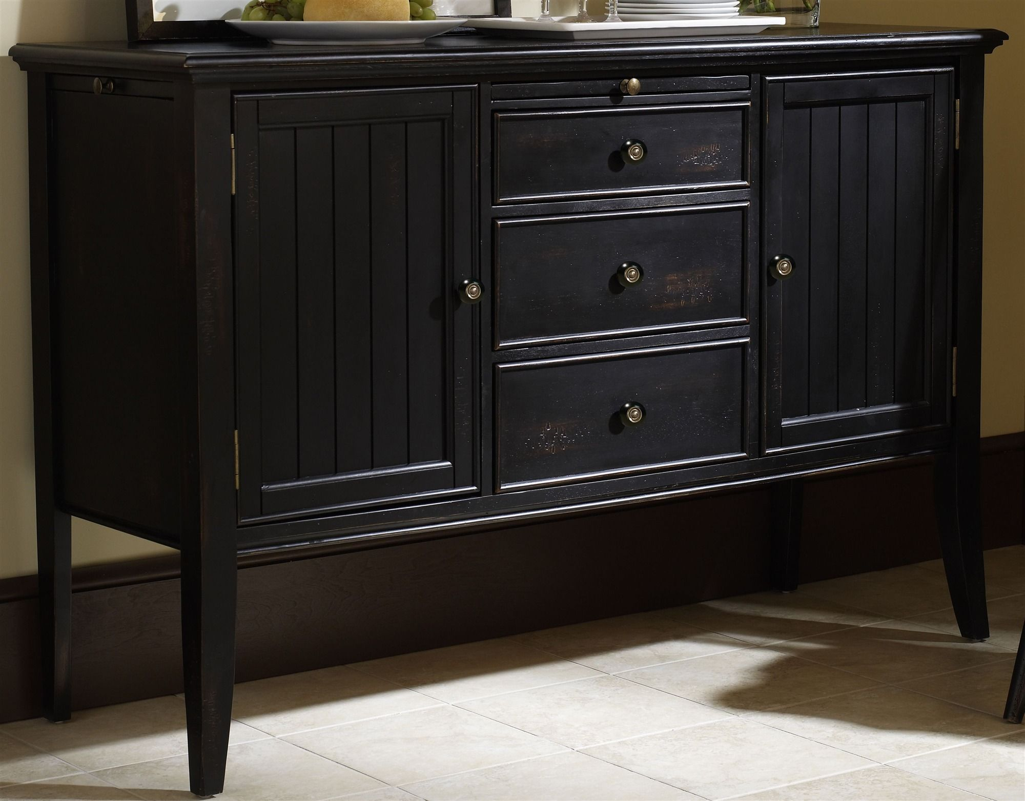 Furniture Cape May Buffet Server In Bayberry Black Finish (