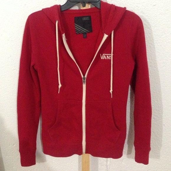 Vans Red Zip-Up Sweater | Vans, Hoods and Sweatshirt