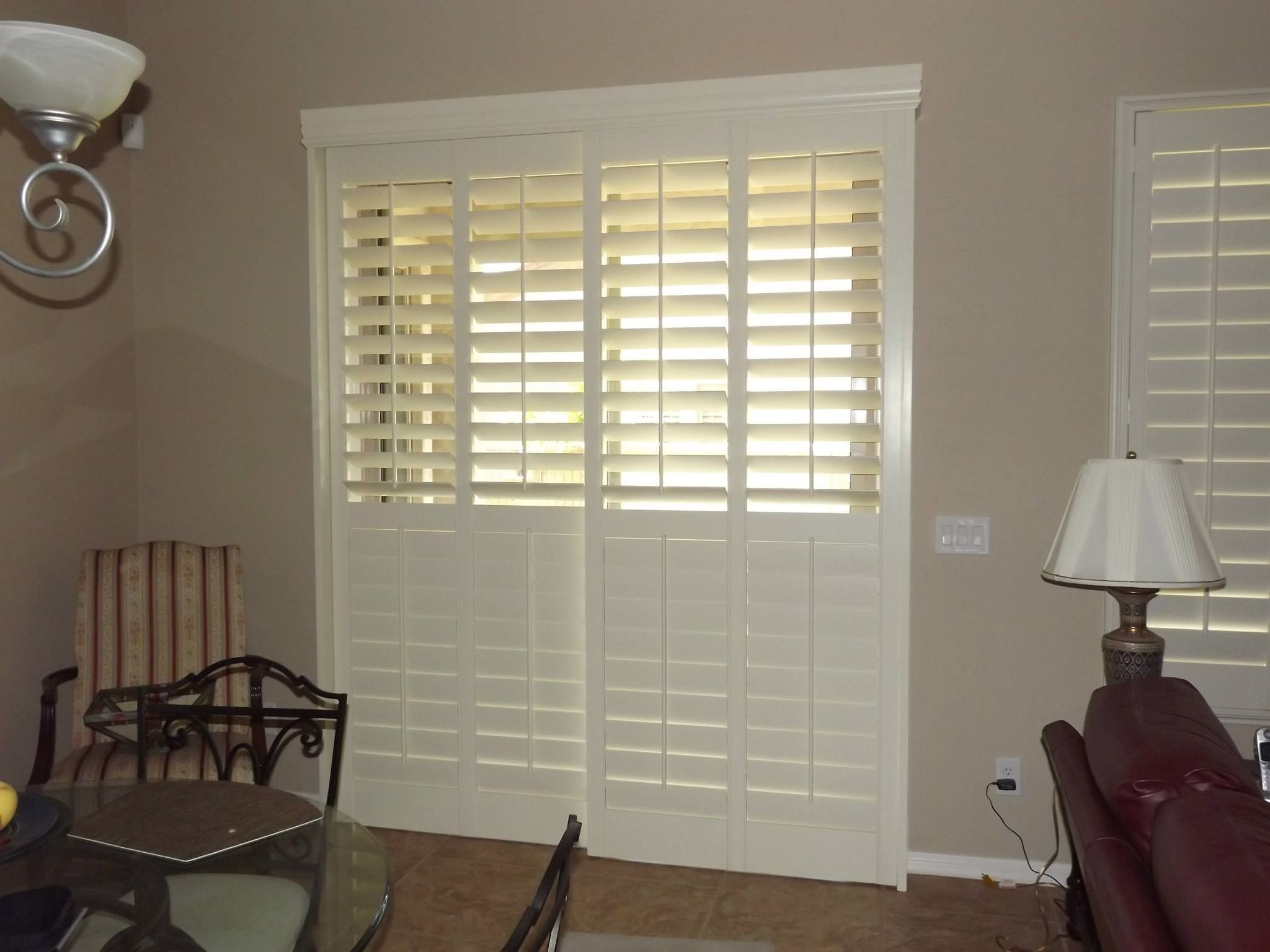 Plantation Shutters On A Sliding Glass Door Top Part Of The Louvers