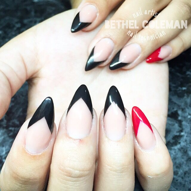 Acrylic Nails Black French Triangle Almond
