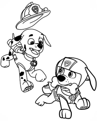 Marshall And Zuma Coloring Page Paw Patrol Coloring Paw Patrol Coloring Pages Cartoon Coloring Pages