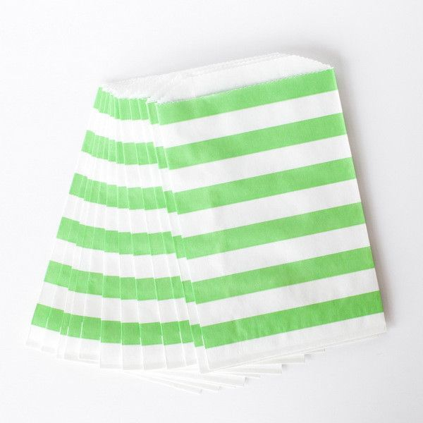 Green Rugby Striped Favor Bags - Set of 12