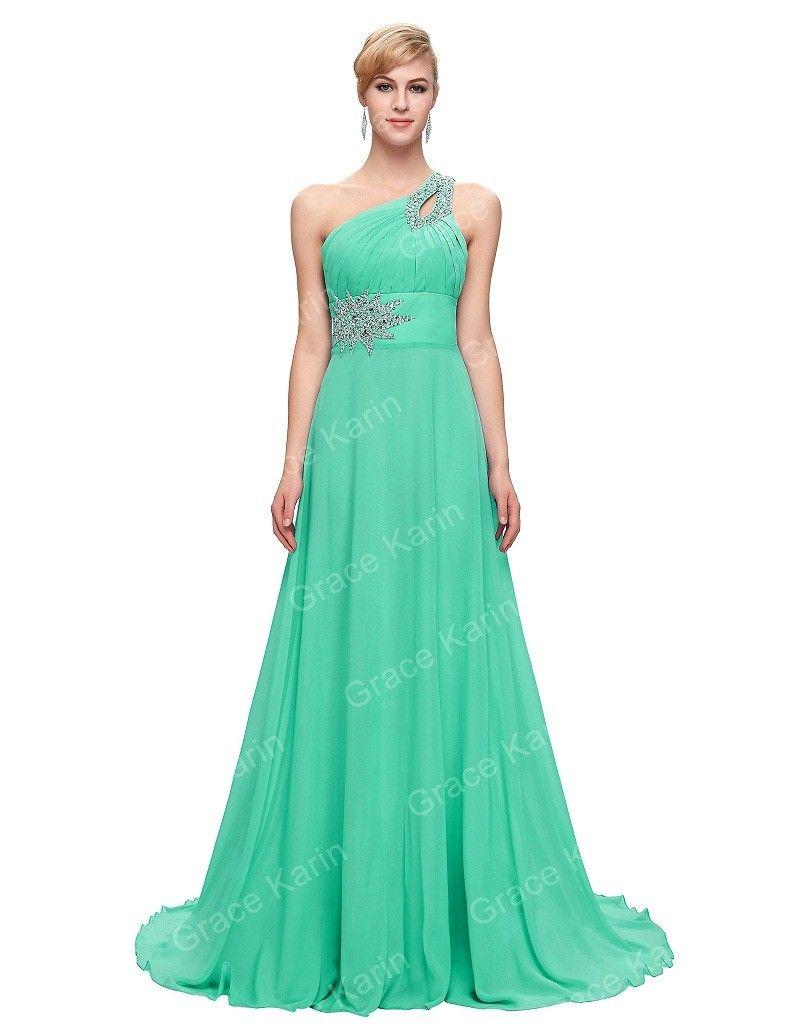 One Shoulder Long Blue Purple Pink Red Elegant Party Dress | Elegant ...