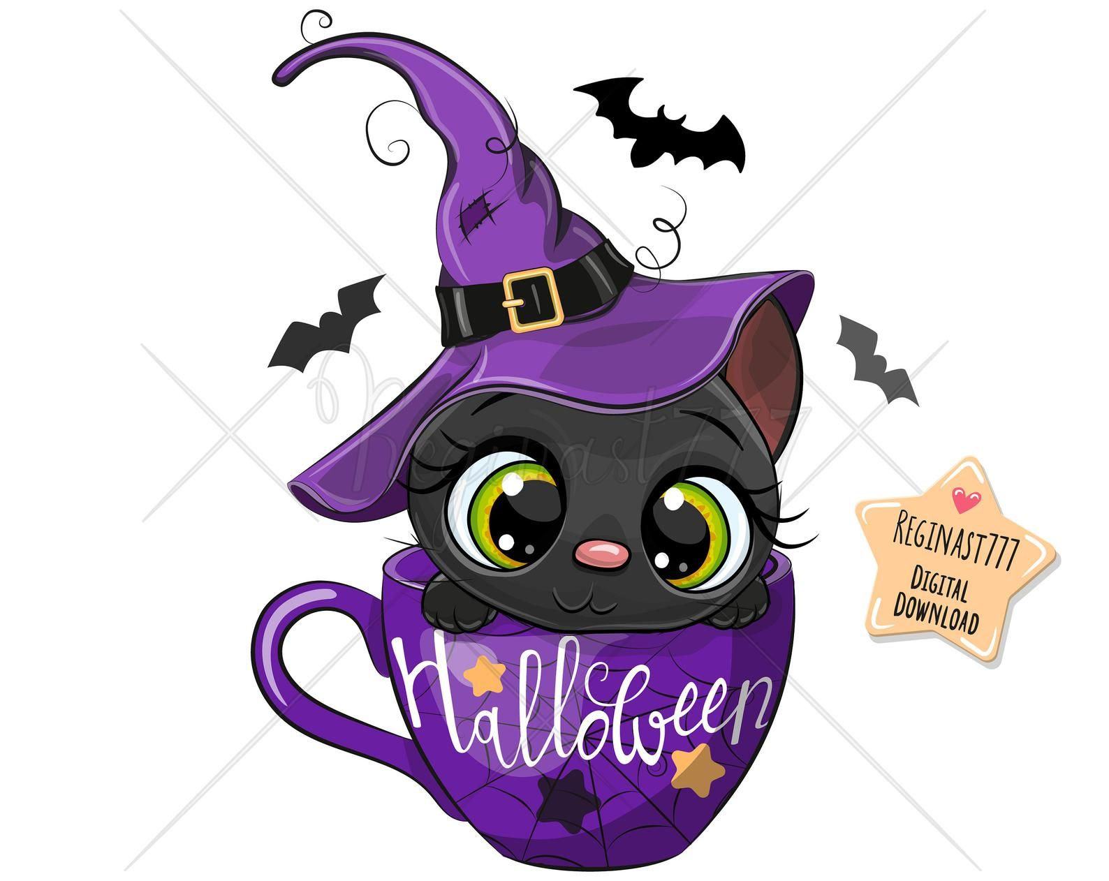 Cute Halloween Black Cat Png Digital Download Clipart Kids Etsy Kids Graphics Halloween Prints Black Cat Halloween