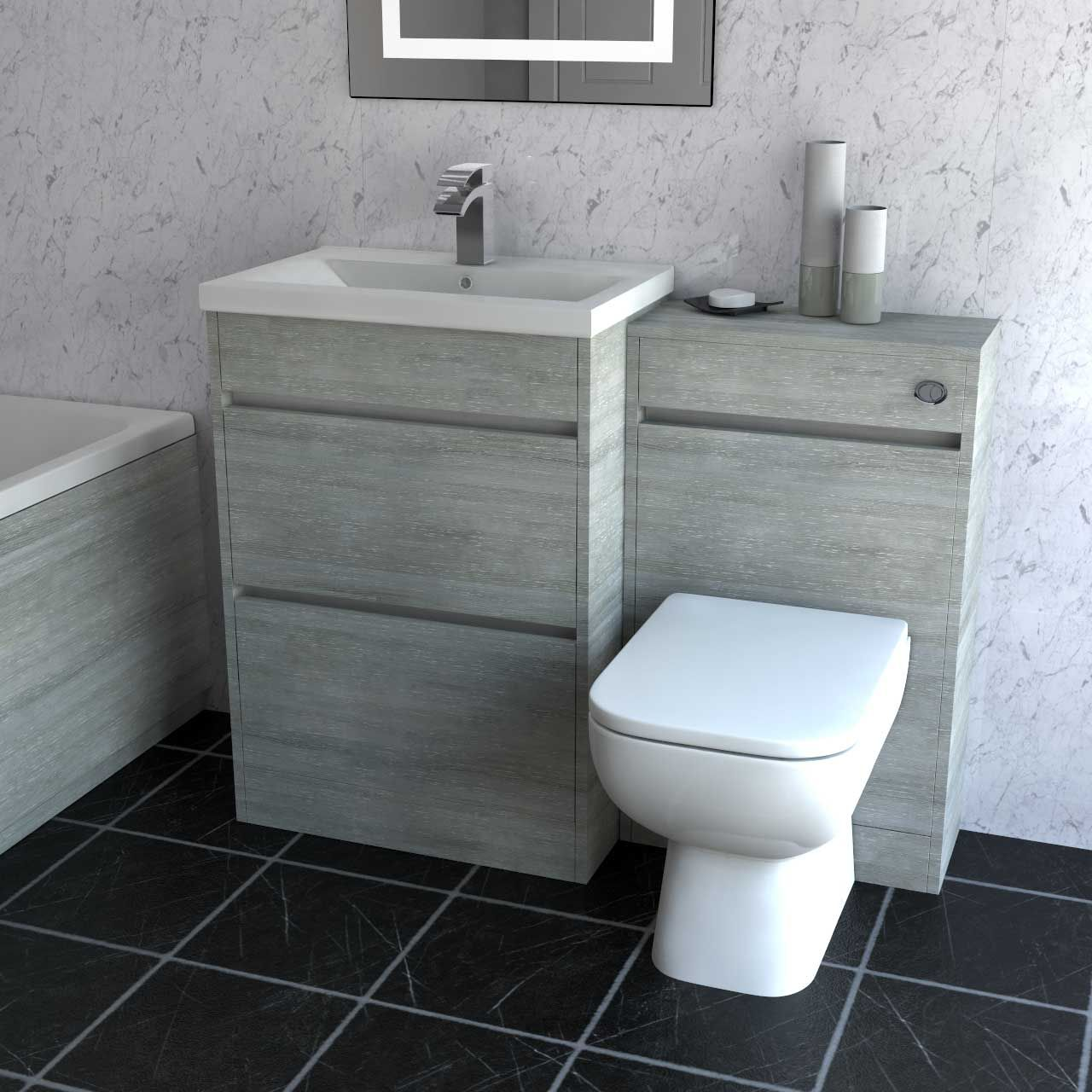 City Molina Ash 1100mm 2 Drawer Vanity Unit Toilet Suite Basin Vanity Unit Vanity Units Toilet Suites