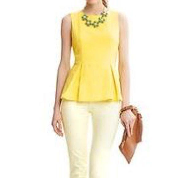 8ce235bcf90603 Sale Banana Republic Yellow Peplum Top Cute Banana Republic yellow peplum  top size 2