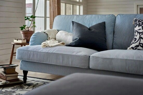 Ikea Stocksund 2016 In Lightblue White Stripes New Ikea Couch Ikea Sofa Sofa Buying Guide