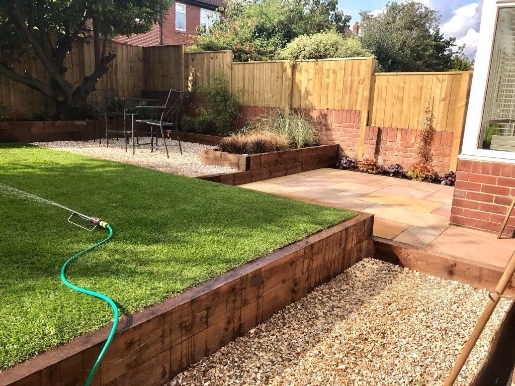 Completed Garden Split Level Garden Timber Sleepers And Natural Sandstone With Gravel Sloped Garden Garden Ideas Split Level Modern Backyard Modern garden ideas with sleepers