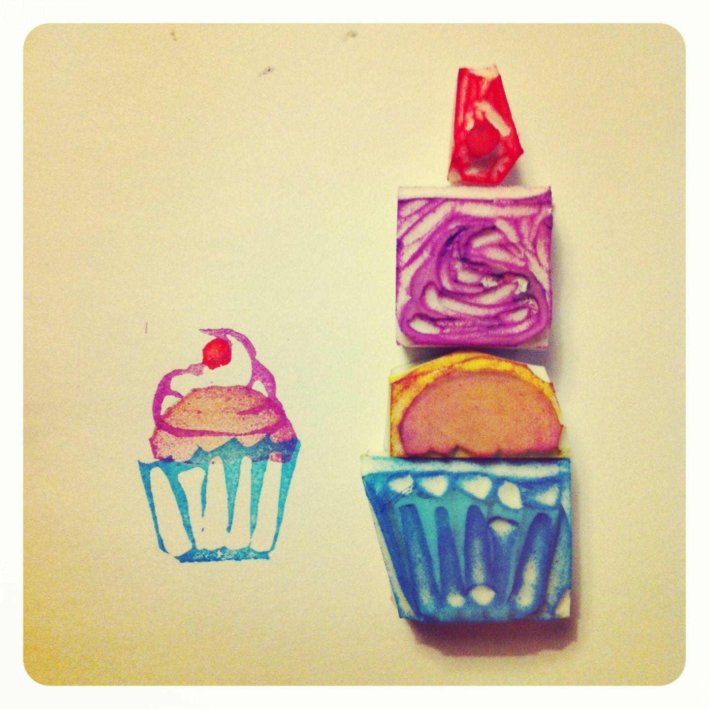 Handvarved Cupcake Stamp Made By Me Arl8