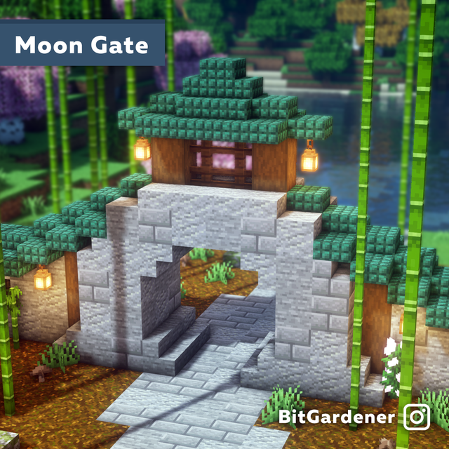 I built a Chinese-inspired Moon Gate for my villag