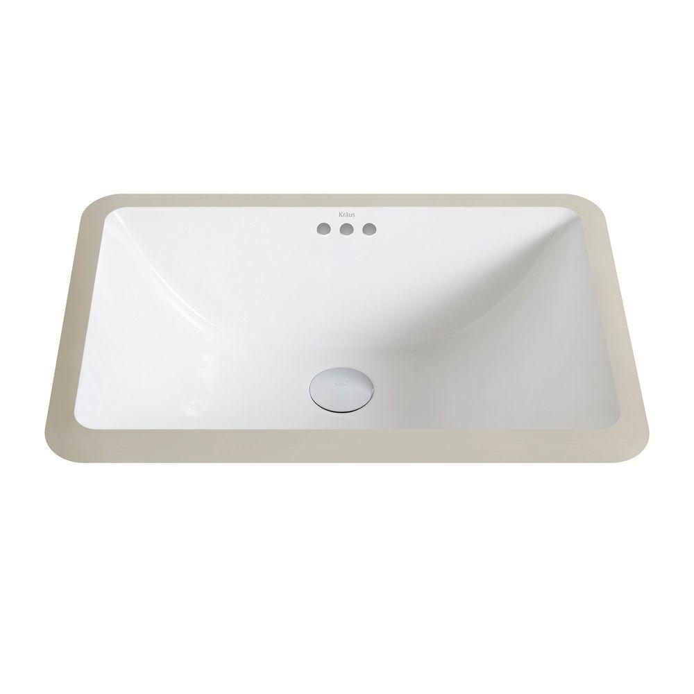 Kraus Elavo Small Rectangular Ceramic Undermount Bathroom Sink In