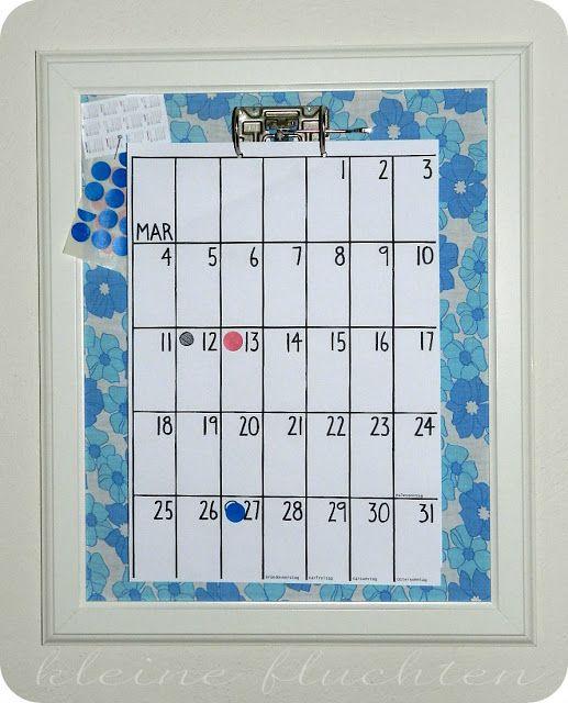 kleine fluchten: Kalender im Rahmen { DIY }