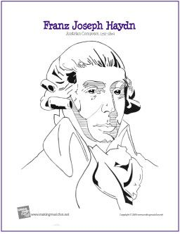 franz joseph haydn composer coloring page httpmakingmusicfunnet