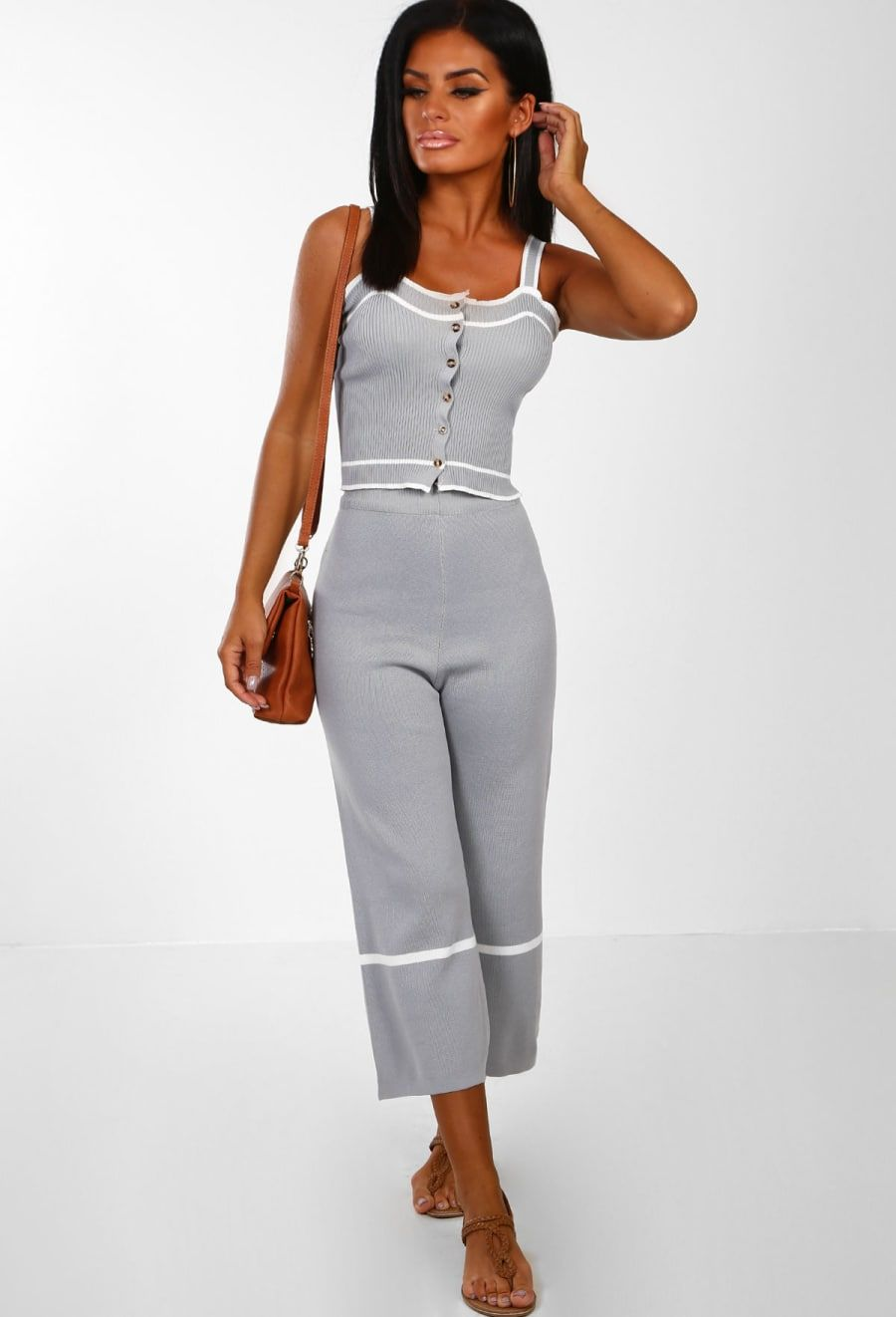 233c9a30e6fd Wear My Kiss Grey Knitted Button Front Culotte Co-Ord - 8-10 | Ash ...