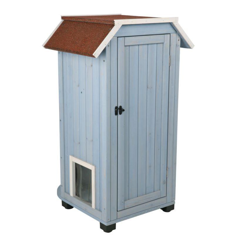 Wooden Cat House Bed Shelter 3 Story Condo Indoor Outdoor Kitten Pet Furniture