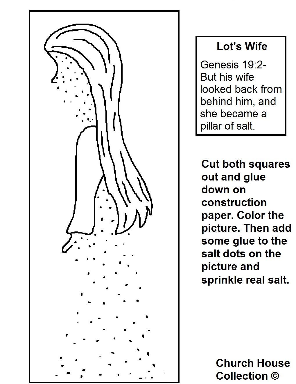 Lots Wife Coloring Page Bible Crafts Bible For Kids