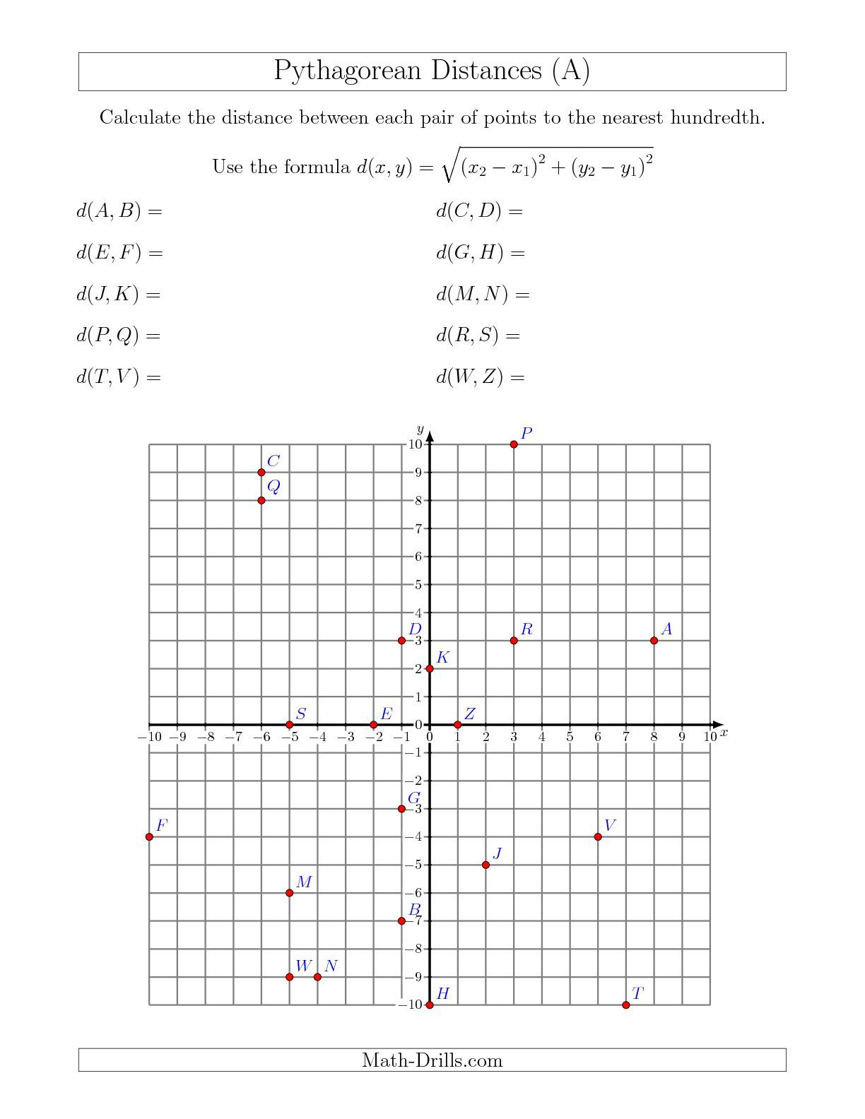 Calculating the Distance Between Two Points Using Pythagorean Theorem (A)  Geometry Workshee…   Coordinate plane worksheets [ 1584 x 1224 Pixel ]