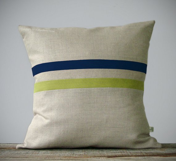 Moss Green And Navy Striped Linen Pillow Cover 16x16
