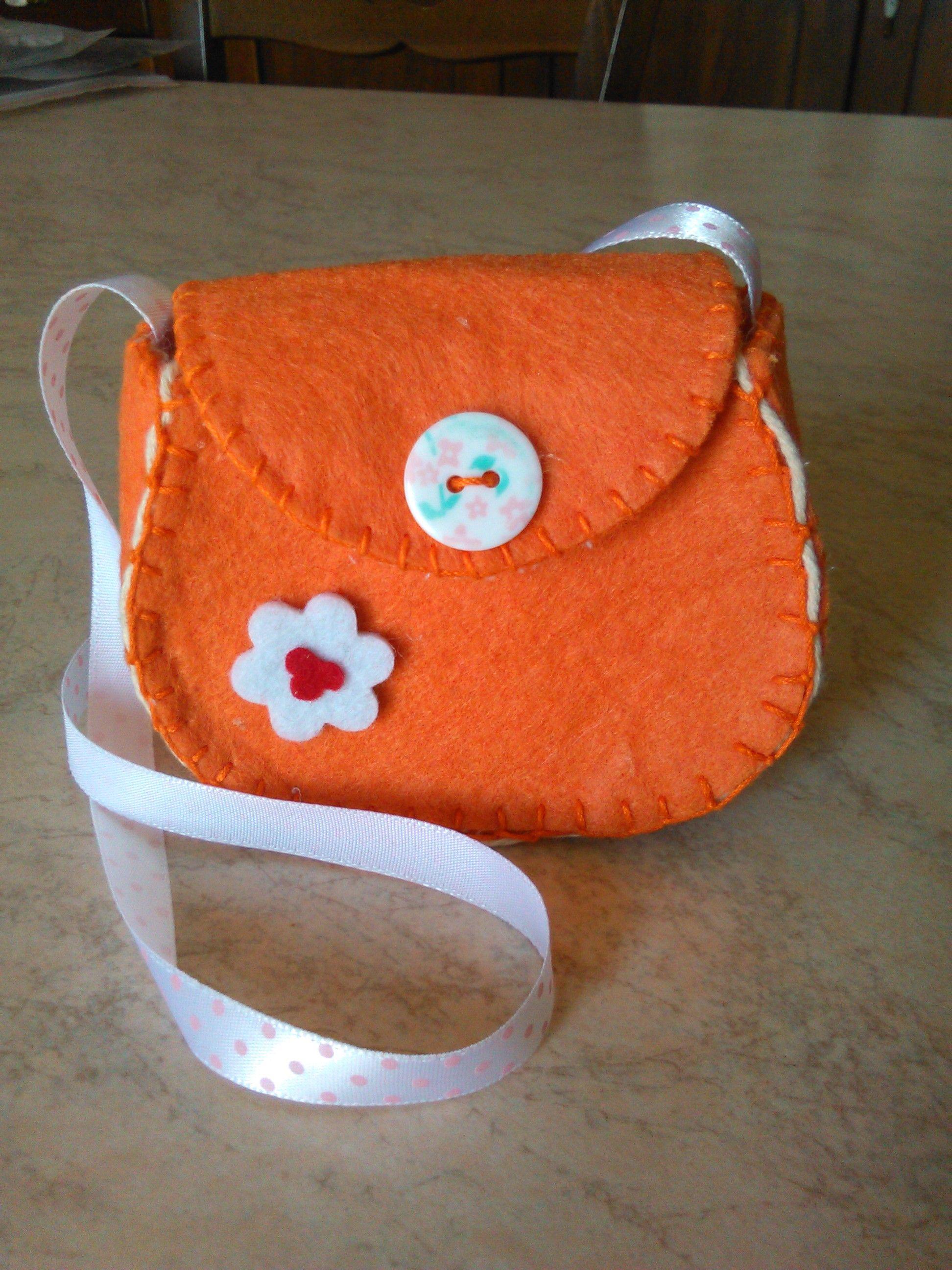 borsetta in feltro arancione per bambina   Borse fai da te