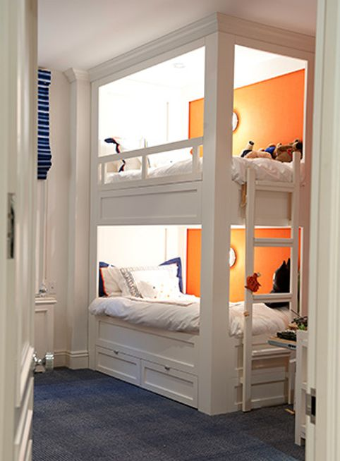 Cute Bunk Beds That Are Slightly Hidden With Own Light Bunk Beds Built In Built In Bunks