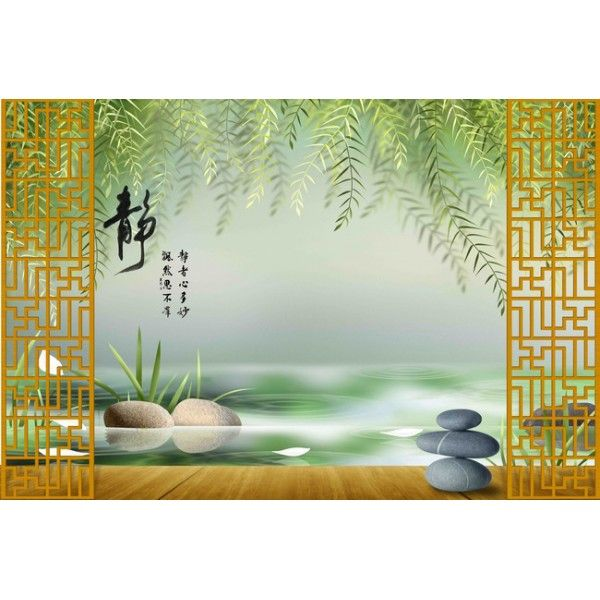 papier peint 3d asiatique sur mesure paysage zen mural. Black Bedroom Furniture Sets. Home Design Ideas