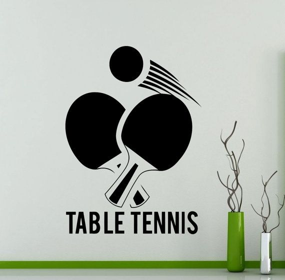 Table tennis logo wall sticker sports ping by for Table table logo