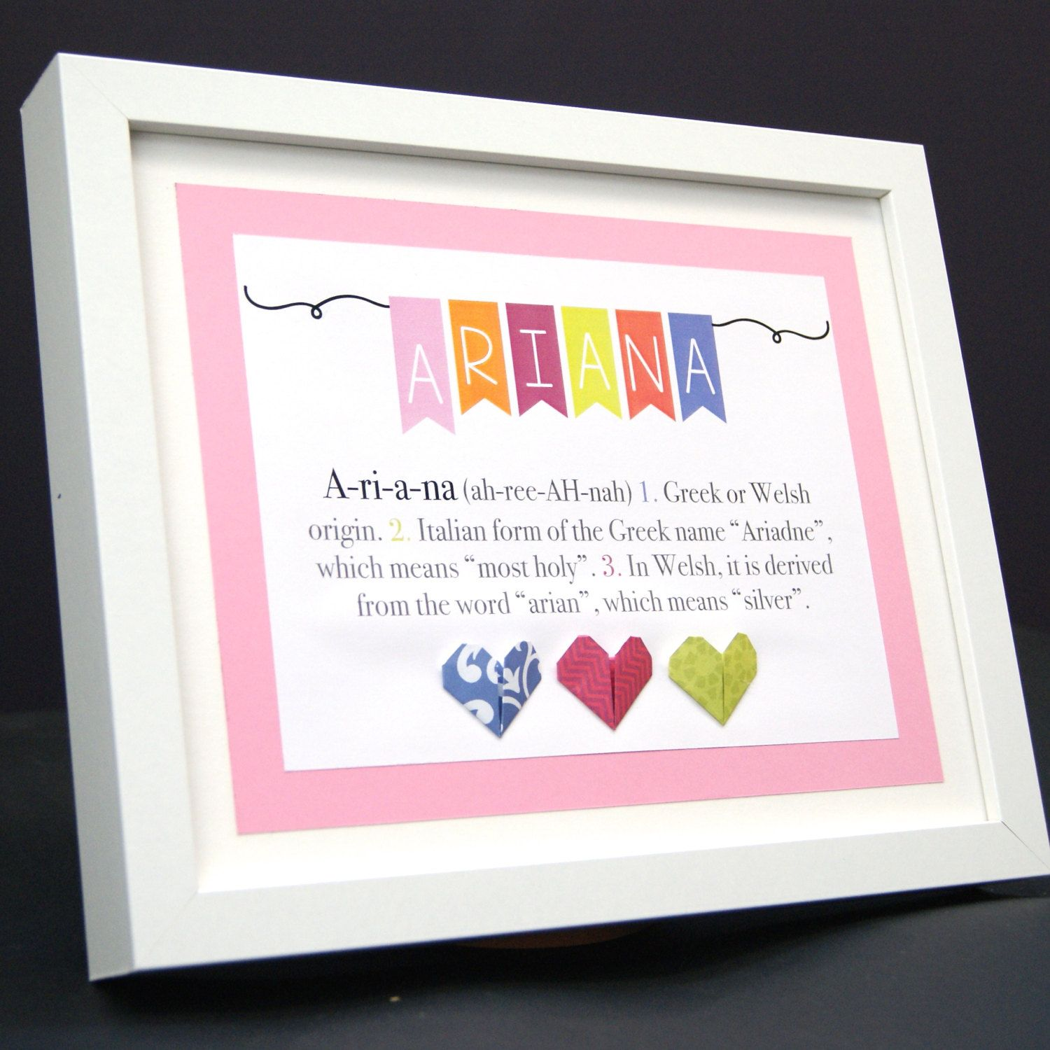 Personalized name paper origami frame with name origin and meaning personalized name paper origami frame with name origin and meaning custom newborn baby shower girl gift negle Images