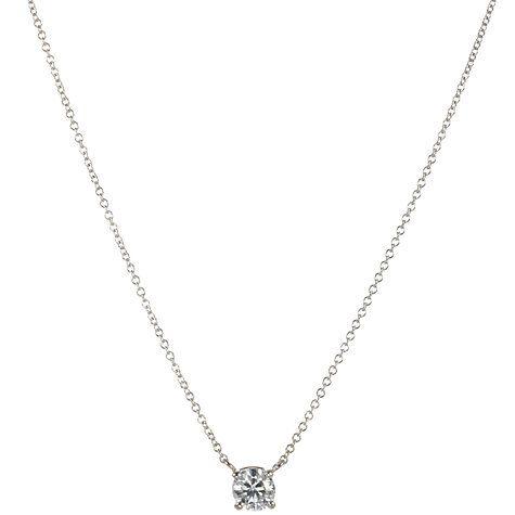 5035e5273563d6 Buy 18ct White Gold Diamond Solitaire Pendant Necklace Online at  johnlewis.com