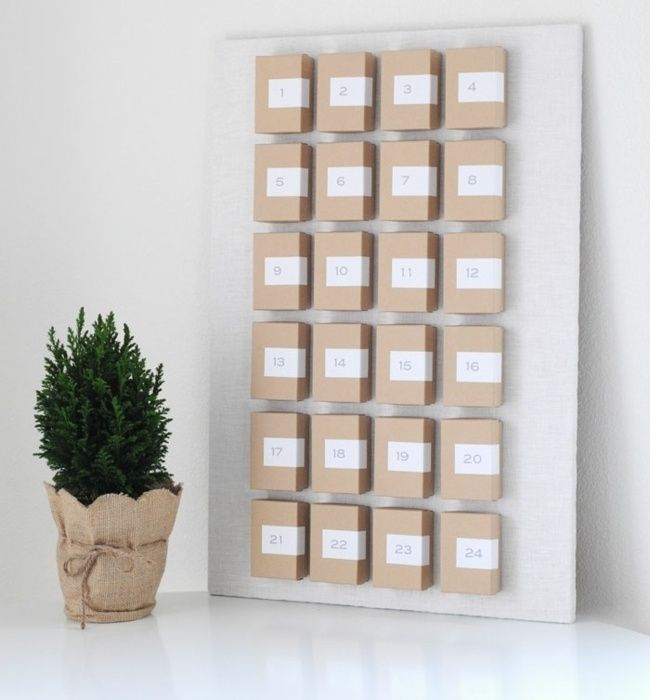 holz schachtel minimalistisch adventskalender basteln advent calendar pinterest. Black Bedroom Furniture Sets. Home Design Ideas