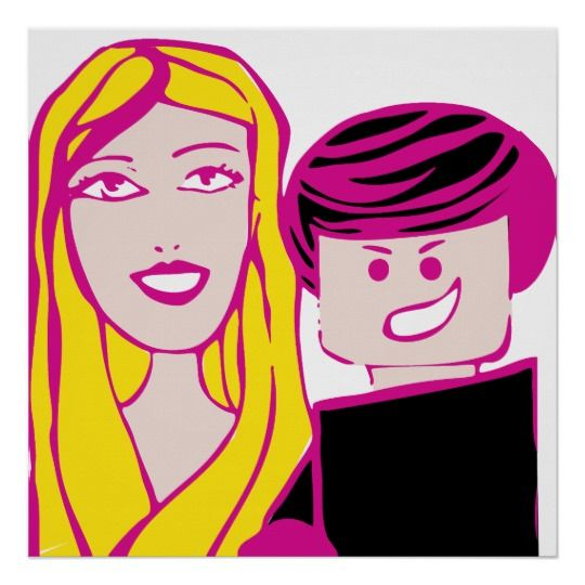 Plastic Toy Couple in a 24x24 Poster