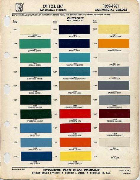 1959 Chevrolet Paint Color Code Chart 1959 Apache Paint