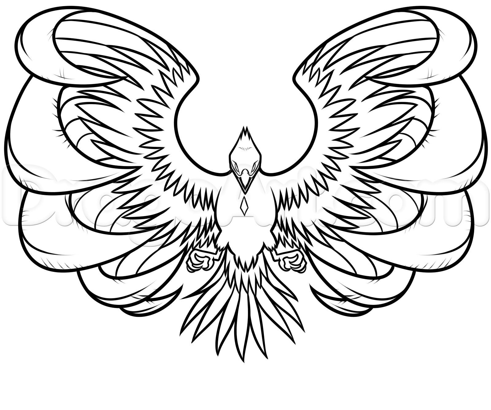 drawing a phoenix step by step step 8 | mythical creatures ...