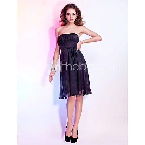 [USD $ 99.99] A-line Strapless Knee-length Chiffon Cocktail Dress