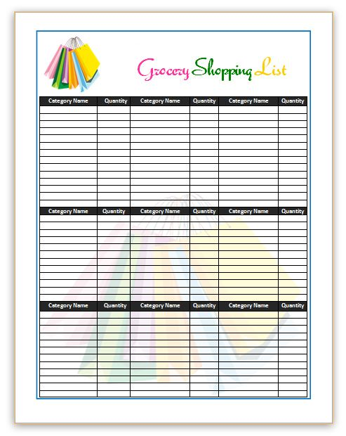 Shopping List Templates 10+ Free Printable Excel, Word  PDF