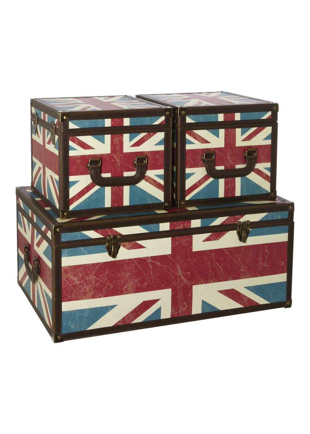 Matalan - Union Jack Set Of 3 Trunks   London living Lifestyle ...