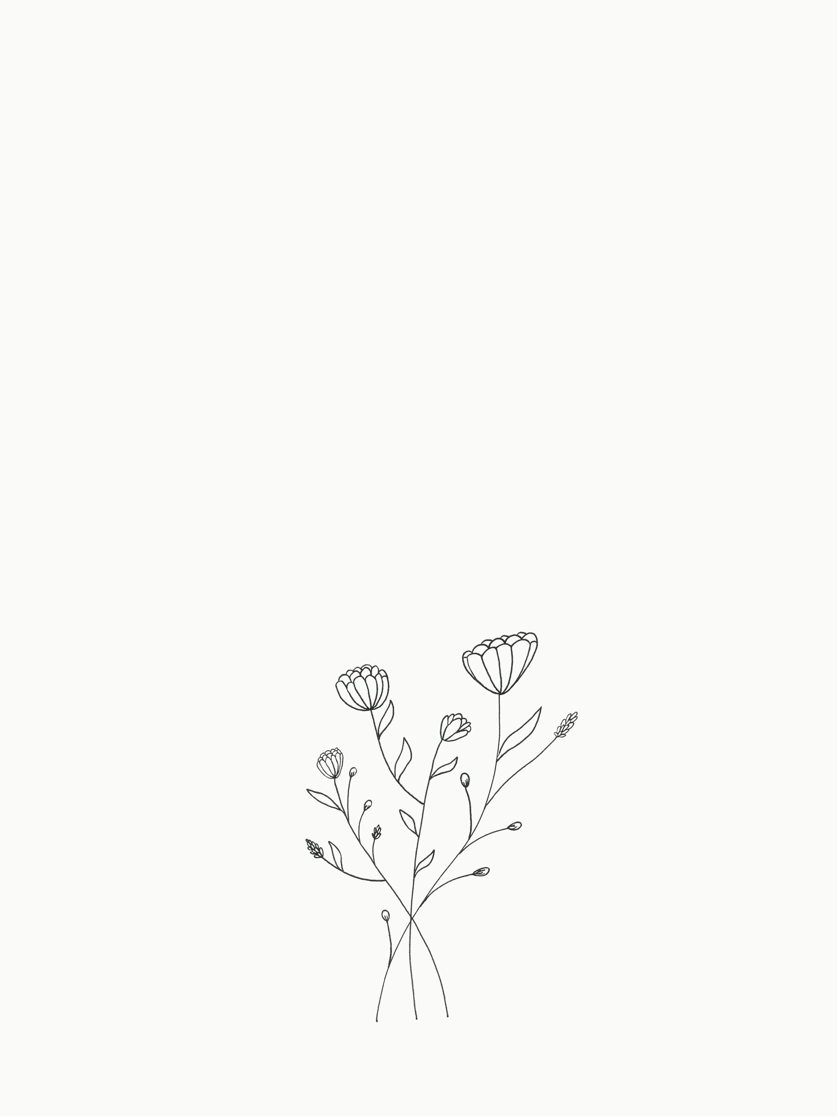 Small Bouquet Of Flowers Drawing Small Flower Drawings Cute Flower Drawing Flower Drawing