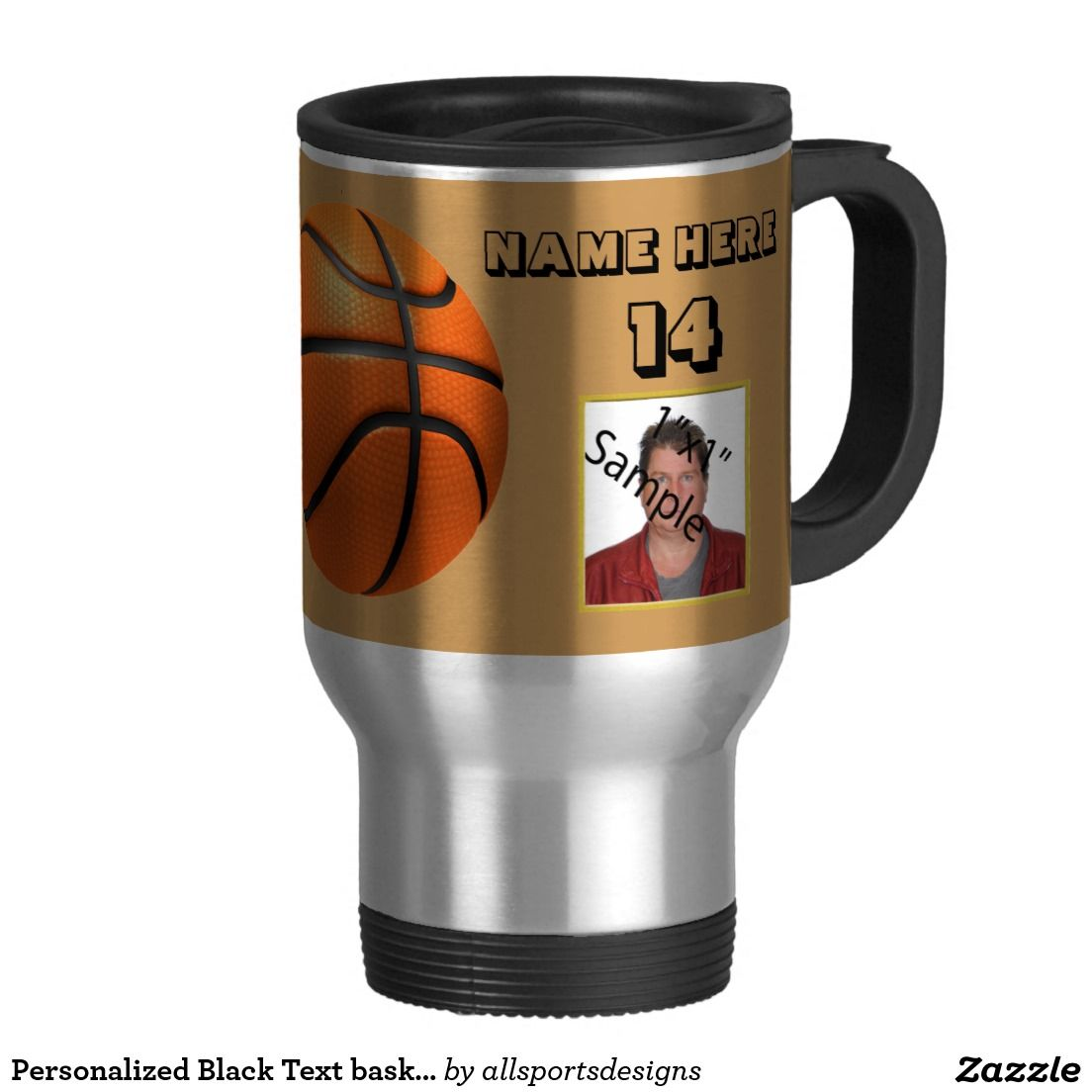 Personalized Black Text basketball Photo Tumbler 15 Oz Stainless Steel Travel Mug Personalized basketball black text photo tumbler with Name of player's, Photo of the basketball player, Name of team, Number of jersey and the Year on it. black and gold goblet. Background color can be change to team color. The black text can be changed as well. This mug is great for a gift.Delete any or all text. IMPORTANT Personalize each basketball picture cup,ONE at a Time, ADD that mug to the CART