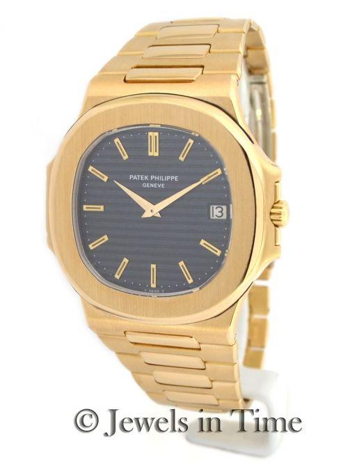 b0937bb39 Patek Philippe Nautilus Jumbo 3700 18k Yellow Gold Slate Dial Mens Watch  www.jewelsintime.com